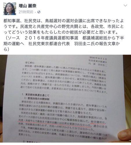 都知事選社民党東京都連総括文書