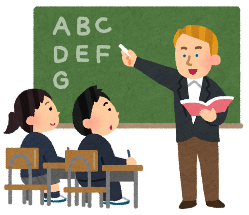 黒板にアルファベットを書いて英語の授業をしている、白人の先生のイラスト