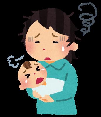 泣き止まないあかちゃんを抱いて、疲れ果てている育児ノイローゼのお母さんのイラスト