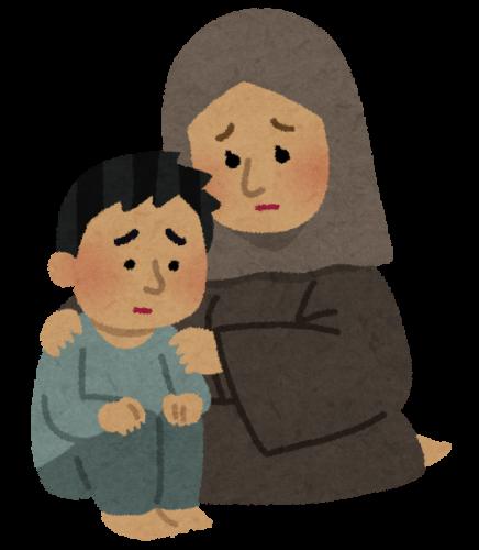 戦争や内戦などにより自国に住む場所を失って難民となってしまった、イスラム教徒の家族のイラスト