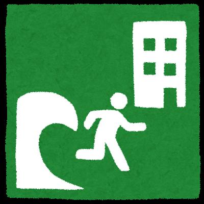 津波警報が発表された時に、避難する場所をわかりやすくするための津波避難標識