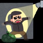 悪そうな泥棒が、家に設置されたセンサーライトに照らされて焦っている