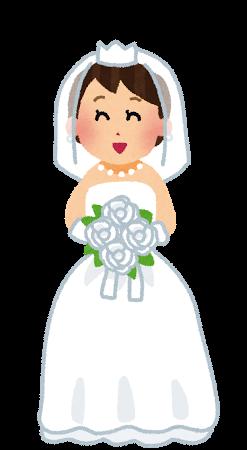 真っ白なブーケを持った、ウェディングドレス姿の新婦(花嫁)のイラストです。