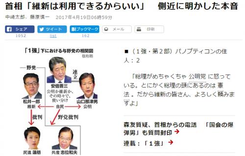 首相「維新は利用できるからいい」 側近に明かした本音:朝日新聞デジタル