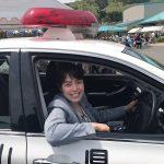 小野田きみ議員パトカー体験