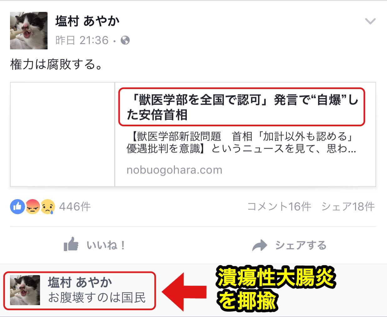 民進党の塩村文夏が安倍首相の潰瘍性大腸炎を揶揄