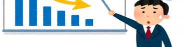 ホワイトボードに描かれた、右肩下がりのグラフをさして困っている男性サラリーマンのイラスト