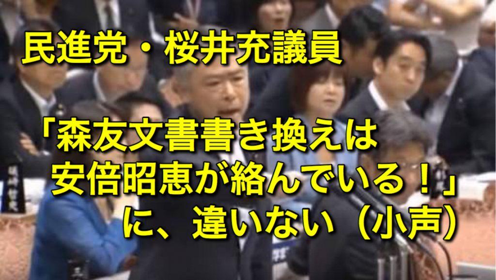 民進党・桜井充議員「財務省は被害者、安倍昭恵夫人が関与していることは明らか」森友文書書き換え疑惑で