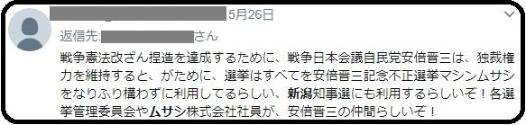 やっぱり始まった「新潟県知事選で安倍がムサシを!ぐぬぬ・・・」野党候補支持者が定番のデマを垂れ流す