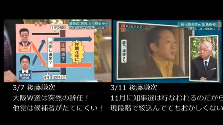 報ステ、大阪W選「突然の辞任、自民が候補立てられない」数日後「候補を用意してない自民の準備不足!」