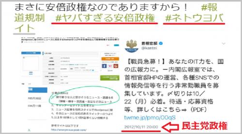 野党支持者「室井佑月さん!安倍政権の官邸アカウントがネトウヨバイトを募集してるよんですよ!」←日付は2012年、民主党政権でした