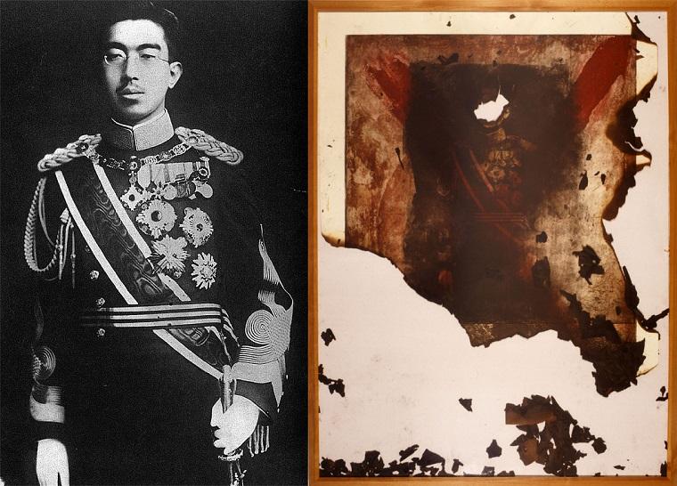 あいちトリエンナーレ広報「昭和天皇をモチーフにしていないし写真は燃やしていない」→製作者の過去作、昭和天皇の御真影に「焼かれるべき絵」