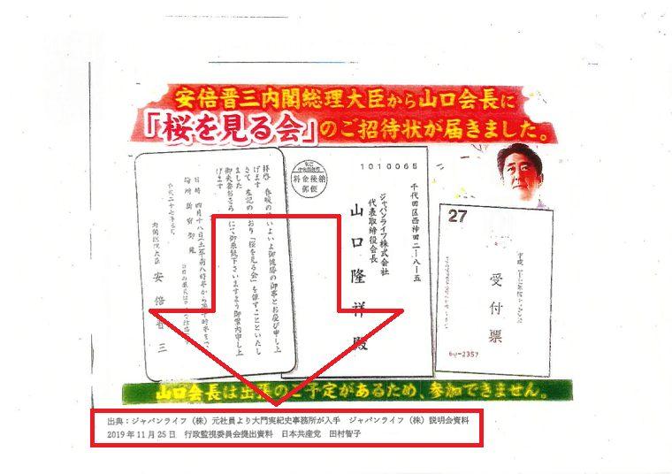 共産党・田村智子の嘘「(ジャパンライフ会長の)招待状は消費者庁の内部告発」←資料には「元社員から入手」と付記
