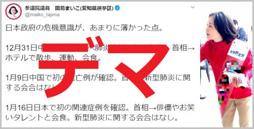 立憲・田島麻衣子議員がデマ「政府の危機意識が薄い、新型肺炎に関する会合なし」←首相動静だけ確認、想像で批判