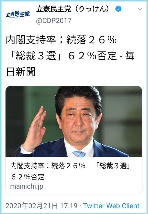 やったぜ!立憲民主党公式「内閣支持率:続落26%」→残念!2017年の記事でした、有田芳生さんも釣られて投稿