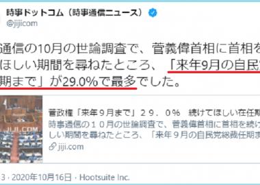 時事通信「菅総理に続けてほしい期間は9月の総裁任期までが29%で最も多い」→長期政権望む声を1年ごとに分割したインチキアンケートでした